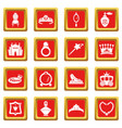 princess doll icons set red square vector image