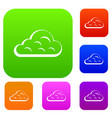 rainy cloud set color collection vector image vector image