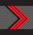red arrow direction overlap on grey metal mesh vector image vector image