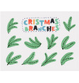 set christmas tree branch for decorate vector image