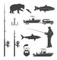 set fishing icon vector image