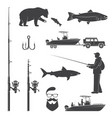 set of fishing icon vector image
