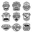 set taxi service emblems design element vector image