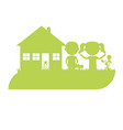 silhouette of two kids at home vector image vector image