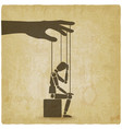 sitting figure puppet doll on ropes vintage vector image vector image