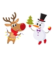 Snowman holding Christmas tree and reindeer with a vector image