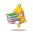 student with book school bell character cartoon vector image vector image