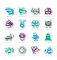 various abstract monsters vector image vector image