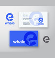 whale abstract logo and business card vector image