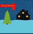 winter night with lonely house and falling snow vector image vector image