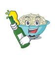 with beer rice bowl mascot cartoon vector image