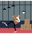 woman almost fall holding bring cardboard box with vector image vector image