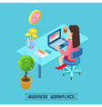Workplace Isometric Office Businesswoman at Work vector image