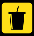 yellow black sign - cold drink with straw icon vector image vector image