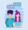 young couple portrait characters talking cartoon vector image vector image
