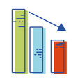 statistic bar with arrow down to business company vector image
