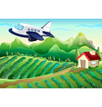 An airplane above the farm vector image vector image