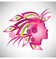 Beautiful stylized profile woman with floral hair vector image vector image