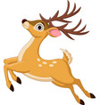 cartoon funny deer jumping isolated vector image vector image