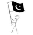 cartoon of man waving the flag of islamic vector image