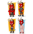 cartoon red devil with horns characters set vector image vector image
