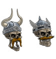 cartoon viking warrior skulls in metal helmet vector image vector image
