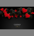 casino playing card symbols on black background vector image