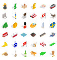 castle icons set isometric style vector image vector image