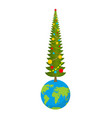 christmas on earth new year on planet big vector image