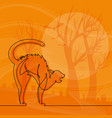 continuous line scared cat halloween cartoo vector image vector image