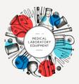 corona virus testing laboratory equipment wreath vector image vector image