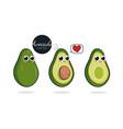 cute avocado characters set vector image vector image