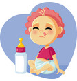 cute baby with milk bottle cartoon vector image