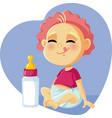cute bawith milk bottle cartoon vector image