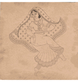 dancing indian woman on old paper vector image