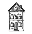 doodle house with windows and door vector image vector image