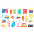fabric cartoon towels bath kitchen rolled and vector image