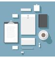 Flat design corporate identity mock-up template vector image