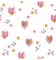geometric hearts background abstract hearts vector image