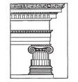 greek ionic order pillar vintage engraving vector image vector image