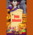 halloween party dracula and pumpkins sweets vector image