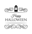 happy halloween logo with lamp and swirls vector image