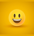 happy smile yellow emoticon face in 3d background vector image vector image