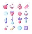 healthy food colored flat icon set fruits and vector image