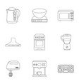 household appliances set icons in outline style vector image vector image