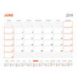 june 2019 calendar planner for 2019 year design vector image