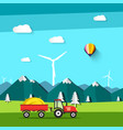 landscape field with tractor and wind mill with vector image vector image
