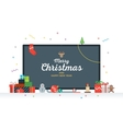 Large TV with Congratulatory text Merry Christmas vector image vector image