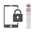lock smartphone icon with set vector image vector image