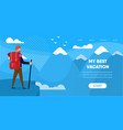 man traveler with backpack mountain snow peak vector image